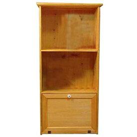 三段ラック 木製扉 ナチュラル w52d28h106cm 背板つき キャビネット 木製 ひのき オーダーメイド 1527940
