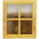 ガラスフレーム 木製 ひのき チェッカーガラス 片面桟入りガラス窓 40×35cm 北欧(ナチュラル) オーダーメイド 1134626
