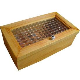 小物入れ チェッカーガラス ナチュラル w28×d16h10cm 陶器つまみ 木製 ひのき オーダーメイド