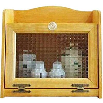 ブレッドケースアンティーク調家具木製ひのきチェッカーガラス扉パンプキンノブ35cm×25cm×32cmナチュラル