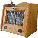 ブレッドケース チェッカーガラス扉 w25d17h22cm ナチュラル ミニミニサイズ 木製 ひのき オーダーメイド 1220163 1213019