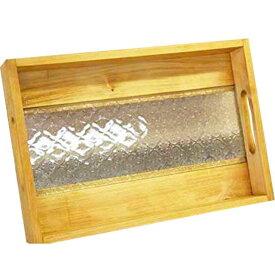 トレイ 底面ガラス ナチュラル w37d25h5.5cm フローラガラス BOX型 木製 ひのき オーダーメイド 1191921