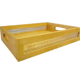 トレイ チェッカーガラス w40d27h7.5cm ナチュラル BOX型 お盆 木製 ひのき オーダーメイド 1191921
