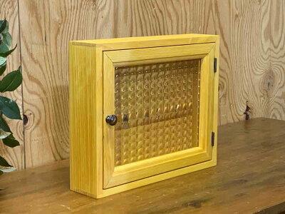キーボックスナチュラル30×7×25cmチェッカーガラス真鍮つまみシルバーフック木製ひのきハンドメイドオーダーメイド