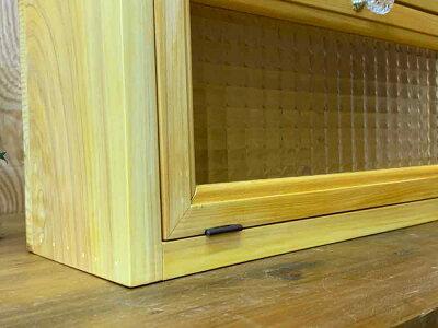 横型キャビネットチェッカーガラス40×13×20cmナチュラルパンプキンノブ背板あり木製ひのきハンドメイドオーダーメイド