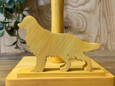 ロールペーパーホルダー角型ゴールデンレトリバーA15x17x19cm木製ひのきハンドメイドオーダーメイド
