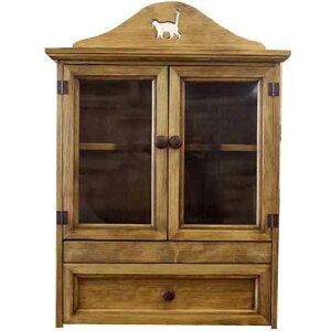 ペットのお仏壇 透明ガラス扉 引き出し スライド棚つき ネコくりぬきボードつき 46x26x53cm アンティークブラウン 木製 ひのき ハンドメイド オーダーメイド 1642947