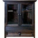 ペットのお仏壇引き出し透明ガラス扉スライド棚取り外し可能棚木製取手46x26x53cmダークブラウン木製ひのきハンドメイドオーダーメイド