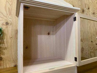 ペットのお仏壇無塗装白木40x31x45cm片開き木製取っ手透明ガラススライド棚し木製ひのきハンドメイドオーダーメイド