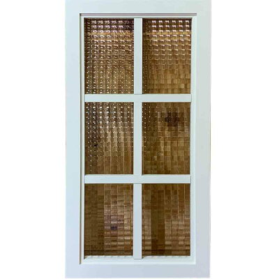 ガラスフレームチェッカーガラスアンティークホワイト35×3.5×70cm両面桟入り木製ひのきハンドメイドオーダーメイド
