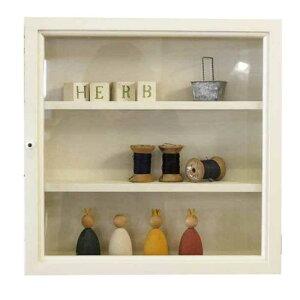 コレクションケース 透明ガラス扉 アンティークホワイト w40d10h40cm 棚付き 正方形 木製 ひのき オーダーメイド 1542638