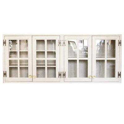 吊り戸棚アンティーク調家具桟入り透明ガラス扉壁掛けキャビネットパンプキンノブアンティークホワイト