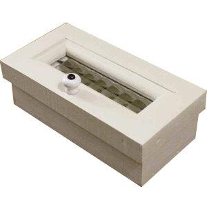 小物入れ 印鑑ケース アンティークホワイト チェッカーガラス 小さなプチ小物入れ 装飾ボックス 木製 ひのき ハンドメイド オーダーメイド 1542638