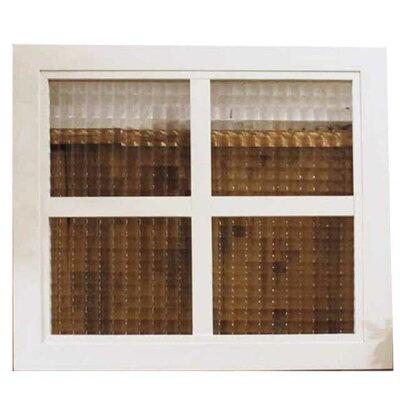 ガラスフレーム木製ひのき室内窓チェッカーガラスアンティークホワイト桟入りガラス窓40×2×35cmフィックス窓明り取り窓北欧