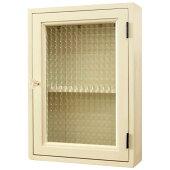キーボックス木製ひのきアンティーク調家具チェッカーガラス扉パンプキンノブ棚付きニッチ用25×8×35cm北欧アンティークホワイト