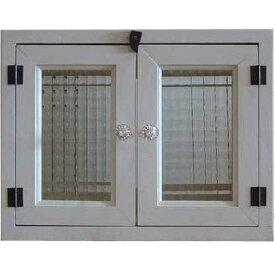 アンティークホワイト チェッカーガラスのキャビネット(ニッチ用埋め込みタイプ)パンプキンノブ開閉クリット仕様 北欧 オーダーメイド 1220163 1213019
