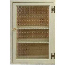 アンティークホワイト チェッカーガラスの長方形キャビネット パンプキンノブ・マグネット仕様 40×15×60cm(ニッチ用埋め込みタイプ) オーダーメイド