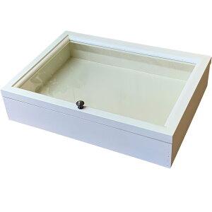 ジュエリーケース 透明ガラス 真鍮つまみ アンティークホワイト 41×30×9cm 木製 ひのき ハンドメイド オーダーメイド 1492736