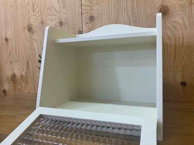 ブレッドケースアンティークホワイト35×25×32cmチェッカーガラスパンプキンノブ木製ひのきハンドメイドオーダーメイド