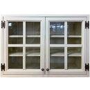 吊り戸棚アンティークホワイト70x30x50cm三段棚真鍮つまみ透明ガラス扉十字桟入り壁掛け木製ひのきハンドメイドオーダーメイド