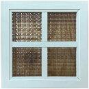 室内窓アンティークホワイトチェッカーガラス片面桟入り30x2x30cm木製ひのきハンドメイドオーダーメイド