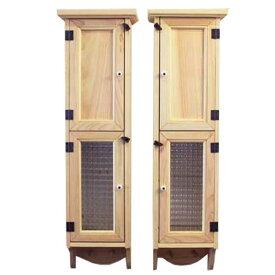 スリムキャビネット 木製 ひのき 2個セット 木製扉&チェッカーガラス扉のスリムキャビネット 高さ70cm ペグ付き 壁掛けキャビネット ライトオーク オーダーメイド