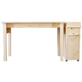 ロングテーブル&サイドワゴンセット ライトオーク w148d47h75cm 引き出し付き 4段ワゴン 木製 ひのき オーダーメイド