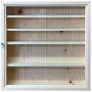 コレクションケース透明ガラスライトオークw50d10h50cm5段棚付き木製ひのきハンドメイドオーダーメイド