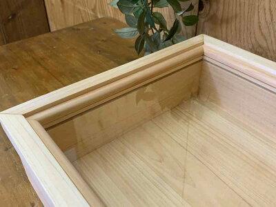 引き出し式コレクションケース透明ガラス35×27×9.5cmライトオーク真鍮つまみ木製ひのきハンドメイドオーダーメイド