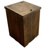 ダストボックス23x23x30cmふた・真鍮つまみ付きダークブラウン木製ひのきハンドメイド受注製作