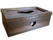 ティッシュボックス(ブルーハート)ダークブラウン木製ひのきハンドメイド受注製作