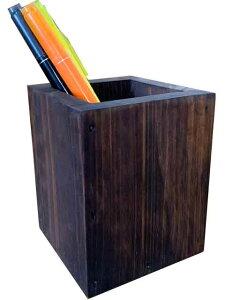 ペンスタンド 角型 8x8x10cm ダークブラウン 木製 ひのき ハンドメイド オーダーメイド 1527940