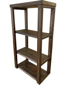 三段ラック 3段 45x24x84cm ダークブラウン 背板なし 木製 ひのき ハンドメイド オーダーメイド