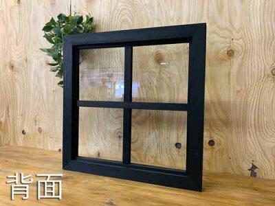 FIX窓・室内窓透明ガラス両面桟入り45x3.5x45cmブラックステイン木製ひのきハンドメイドオーダーメイド