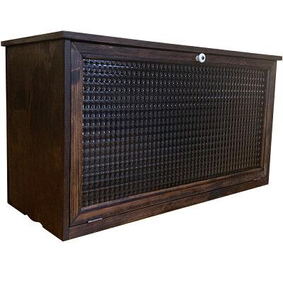 キャビネットチェッカーガラス扉70×27×36.5cmダークブラウン横型木製ひのきハンドメイドオーダーメイド