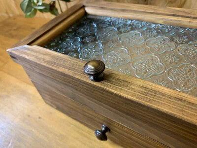 ジュエリーケースフローラガラスダークブラウン25×15×11.5cm引き出し真鍮つまみ木製ひのきハンドメイドオーダーメイド