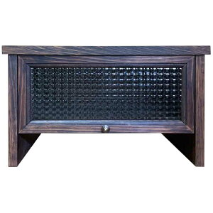 プリンター台 チェッカーガラス ダークブラウン w45d40h27 真鍮つまみ 引出し付 無垢材 木製 ひのき ハンドメイド オーダーメイド 1492736