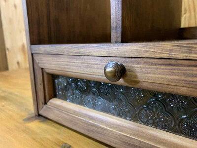 ブックスタンドフローラガラスダークブラウン30×25×34cm引き出しつき真鍮つまみ木製ひのきハンドメイドオーダーメイド