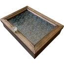 アクセサリーケースフローラガラスダークブラウン26×20×6cmパンプキンノブ木製ひのきハンドメイドオーダーメイド
