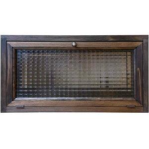 横型キャビネット ダークブラウン 50×15×26cm チェッカーガラス 真鍮つまみ 上置き収納納 木製 ひのき ハンドメイド オーダーメイド 1509042