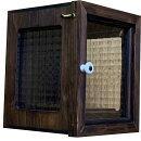 ディスプレイケースダークブラウンw18d18h22cm台座付き透明ガラス扉側面チェッカーガラス木製ひのきハンドメイドオーダーメイド