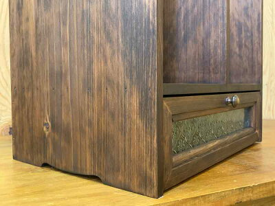 ブックスタンドフローラガラスダークブラウン35×25×34cm引き出しつき真鍮つまみ木製ひのきハンドメイドオーダーメイド