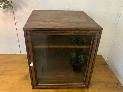 早め発送1567485コレクションケース透明ガラス扉三段棚40×35×45cmダークブラウン木製ひのきオーダーメイド