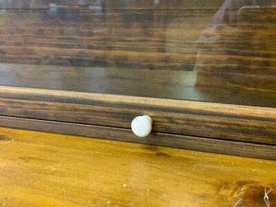 コレクションケースダークブラウン80×10×30.5cm透明ガラス扉木製ひのきハンドメイドオーダーメイド