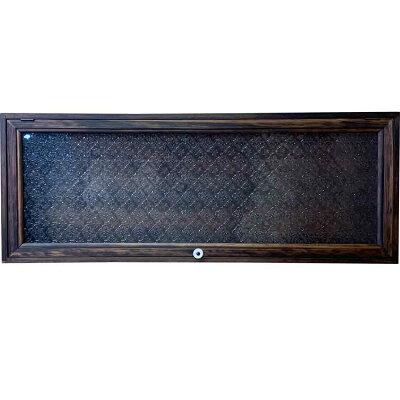 ウォールラックフローラガラス扉ダークブラウン80×10×30.5cm棚なし木製ひのきハンドメイドオーダーメイド