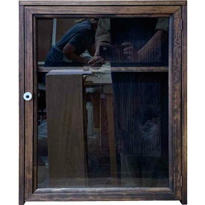 コレクションケース透明ガラス扉二段棚40×35×50cmダークブラウン置き型木製ひのきハンドメイドオーダーメイド