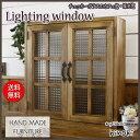 カフェ窓 室内窓 採光窓 チェッカーガラス扉 木製ひのき 60×15×60cm・厚み3cm 両面仕様 桟入り アイアン取っ手つき 北欧 アンティー…