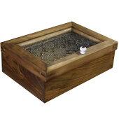 ジュエリーケース木製ひのきアンティークブラウンフローラガラスの小物入れ22×15×7cmアクセサリーボックス