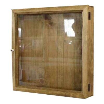 コレクションケース木製ひのき透明ガラス扉四角い壁掛けディスプレイケース40×7×40cmガラスケースアンティークブラウン