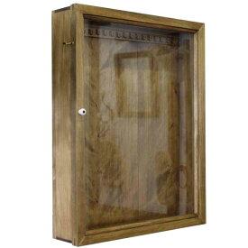 アクセサリーケース 透明ガラス扉 アンティークブラウン w40d9h50cm U字フック付き 木製 ひのき オーダーメイド